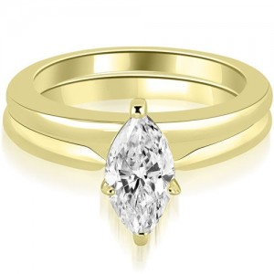 0.75 cttw. Gold Classic Solitaire Marquise Cut Diamond Bridal Set - Custom Made By Yaffie™