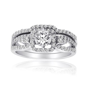 White Gold 1ct TDW Diamond Bridal Ring Set - Custom Made By Yaffie™