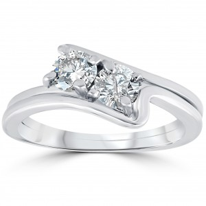 White Gold 3/4 ct TDW Two Stone Diamond Engagement Wedding Ring Set - Custom Made By Yaffie™