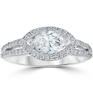 White Gold 1 3/8 ct TDW Sideways Marquise Enhanced Diamond Halo Engagement Ring - Custom Made By Yaffie™