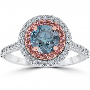 White & Rose Gold 1 5/8 ct TDW Blue & White Diamond Pink Topaz Double Halo Engagement Ring - Custom Made By Yaffie™