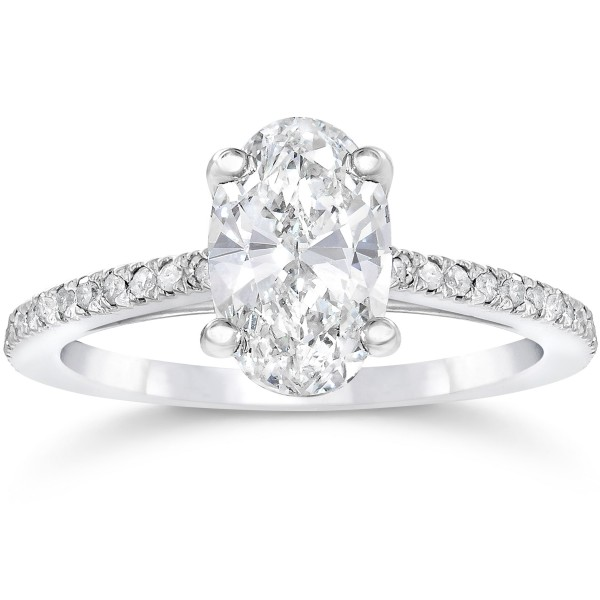 White Gold 1 1/10ct Oval Diamond Engagement Ring Solitaire Single Accent Row Setting - Custom Made By Yaffie™