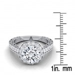 White Gold 1 1/2ct TDW Diamond IGI-certified Halo Engagement Ring With Scroll Design Shank - Custom Made By Yaffie™