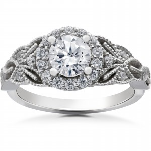 White Gold 1 3/8ct TDW Diamond Clarity Enhanced Halo Vintage Engagement Ring - Custom Made By Yaffie™