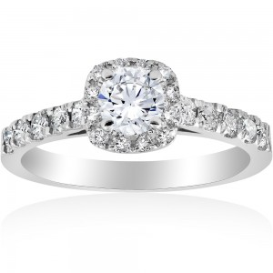 White Gold 1 ct TDW Diamond Halo Engagement Ring White Gold - Custom Made By Yaffie™