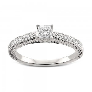 White Gold 1/2ct TDW Princess-cut White Diamond Engagement Ring - Custom Made By Yaffie™