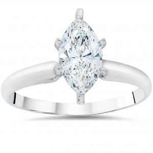 White Gold 1ct TDW Clarity Enhanced Marquise-cut Diamond Solitaire Engagement Ring - Custom Made By Yaffie™