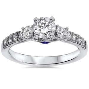 White Gold 1ct TDW Diamond Sapphire Accent Engagement Ring - Custom Made By Yaffie™