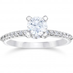 White Gold 1ct TDW Halo Engagement Diamond Ring - Custom Made By Yaffie™