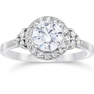 White Gold 1ct TDW Halo Vintage Diamond Engagement Ring - Custom Made By Yaffie™