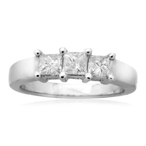 White Gold 1ct TDW Princess-cut Diamond 3-stone Anniversary Ring - Custom Made By Yaffie™