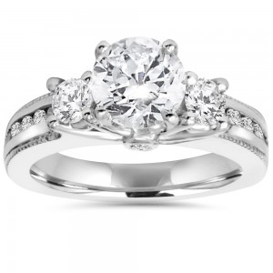 White Gold 2 ct TDW Diamond 3-Stone Clarity Enhanced Engagement Ring - Custom Made By Yaffie™