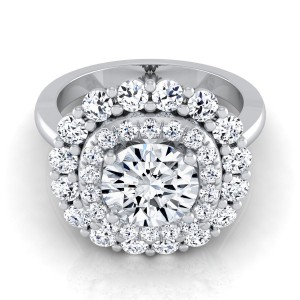 White Gold 2ct TDW Round Diamond Double Halo Engagement Ring - Custom Made By Yaffie™