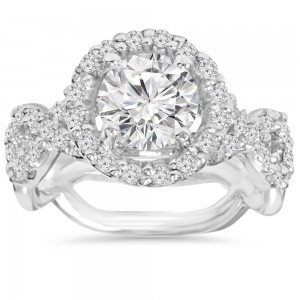 White Gold 3 ct TDW Clarity Enhanced Diamond Round Engagement Ring - Custom Made By Yaffie™