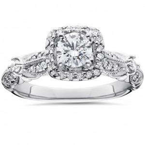 White Gold Antique 1 1/ 2ct TDW Diamond Engagement Ring - Custom Made By Yaffie™