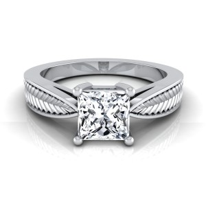 White Gold IGI-certified 1ct TDW Princess-cut Diamond 4-prong Engagement Ring - Custom Made By Yaffie™
