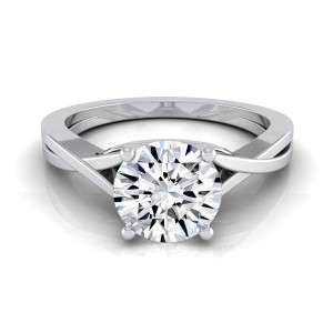White Gold IGI-certified 1ct TDW Round Diamond Solitaire Engagement Ring With Cathedral Setting - Custom Made By Yaffie™