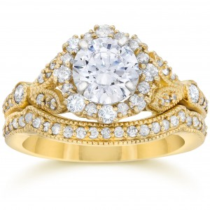 Gold 1 1/2ct TDW Diamond Halo Clarity Enhanced Vintage Engagement Ring and Wedding Band Set - Custom Made By Yaffie™