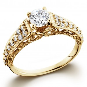 Gold 3/5TDW Vintage Diamond Engagement Ring - Custom Made By Yaffie™