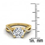 Gold IGI-certified 1 1/6ct TDW Round Pave Infinity Diamond Engagement Ring - Custom Made By Yaffie™