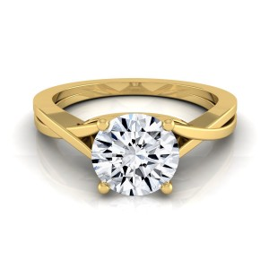 Gold IGI-certified 1ct Round Diamond Solitaire Engagement Ring With Cathedral Setting - Custom Made By Yaffie™