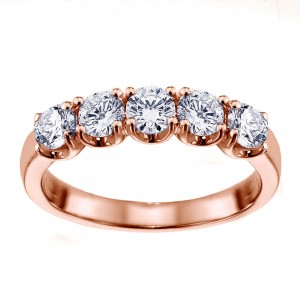 14k/Rose Gold 1ct TDW Split Prong Diamond Anniversary Wedding Ring - Custom Made By Yaffie™