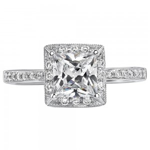 White Gold 1ct TDW Certified Princess Diamond Engagement Ring - Custom Made By Yaffie™