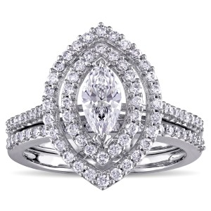 1ct TDW Marquise-Cut Diamond Double Teardrop Halo Bridal Ring Set in White Gold by The Signature Collection - Custom Made By Yaffie™