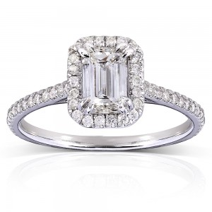 White Gold 1 1/3ct TDW Emerald-cut Diamond Halo Engagement Ring - Custom Made By Yaffie™