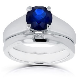 White Gold 1 1/4ct Round Blue Sapphire Solitaire Bridal Set - Custom Made By Yaffie™