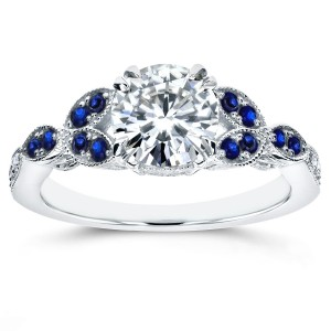 18ct White Gold 1 1/5ct TGW Moissanite and Blue Sapphire, Diamond Accented Vintage Floral Engagement Ring - Custom Made By Yaffie™