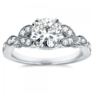 White Gold 1 1/5ct TGW Round-cut Moissanite and Diamond Vintage Floral Engagement Ring - Custom Made By Yaffie™