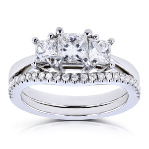 White Gold 1 1/8ct TDW Diamond 3 Stone Princess Bridal Set - Custom Made By Yaffie™