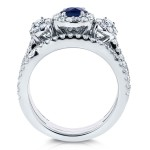 White Gold 1 2/5ct TCW Sapphire and Diamond 3 Piece Bridal Rings Set - Custom Made By Yaffie™