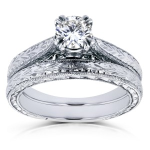 White Gold 1/2ct TDW Round Diamond Vintage Bridal Set - Custom Made By Yaffie™