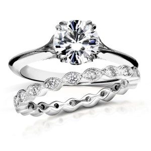 White Gold 1ct Brilliant Moissanite and 2/5ct TDW Diamond Floral Antique Bridal Set - Custom Made By Yaffie™