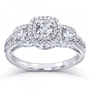 White Gold 1ct TDW Diamond 3-Stone Engagement Ring - Custom Made By Yaffie™
