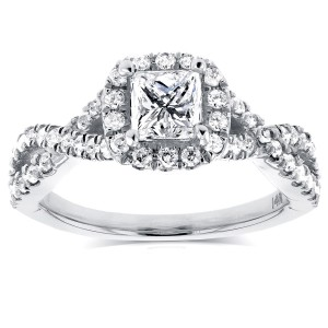 White Gold 1ct TDW Princess Diamond Halo Crossover Engagement Ring - Custom Made By Yaffie™
