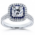 White Gold 2ct TCW Forever One Moissanite with Diamond and Sapphire Cushion Halo Engagement Ring - Custom Made By Yaffie™