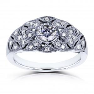 White Gold 5/8ct TCW Moissanite and Diamond Vintage Engagement Ring - Custom Made By Yaffie™