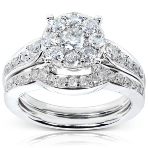 White Gold 7/8ct TDW Diamond Bridal Rings Set - Custom Made By Yaffie™