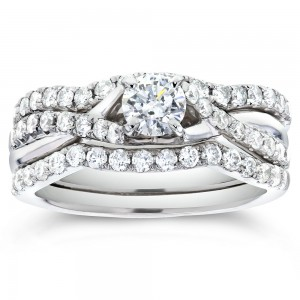 White Gold 7/8ct TDW Round-cut Diamond Bridal Set - Custom Made By Yaffie™
