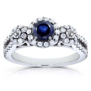 White Gold Blue Sapphire and 3/5ct TDW Diamond Three Stone Ring - Custom Made By Yaffie™