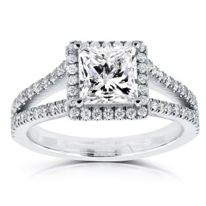 White Gold Certified 2 1/4ct TDW Princess Diamond Halo Long Split Shank Ring - Custom Made By Yaffie™