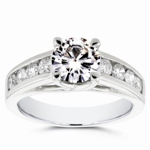White Gold Moissanite and 1/2ct TDW Diamond Channel Band Engagement Ring - Custom Made By Yaffie™