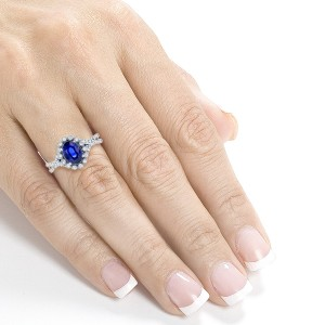 White Gold Oval Blue Sapphire and 1/4ct TDW Diamond Vintage Ring - Custom Made By Yaffie™