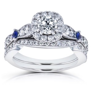 White Gold Sapphire and 1 1/10ct TDW Diamond Antique 2 Ring Bridal Set - Custom Made By Yaffie™
