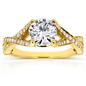 Gold 1 1/4ct TGW Round-cut Moissanite and Diamond Crisscross Band Engagement Ring - Custom Made By Yaffie™