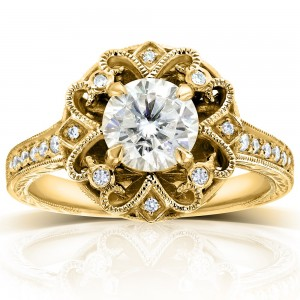 Gold 1 1/5ct TGW Moissanite and Diamond Floral Vintage Engagement Ring - Custom Made By Yaffie™