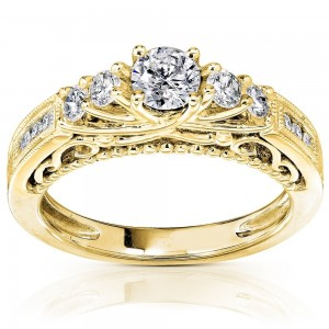 Gold 3/4ct TDW Round Brilliant Diamond Ring - Custom Made By Yaffie™